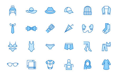 Clothing accessory line icon set. Bow tie, handkerchief, woman hat, sunglasses, umbrella, hijab minimal vector illustrations. Simple outline signs for fashion app. Blue color, Editable Stroke. 矢量图像