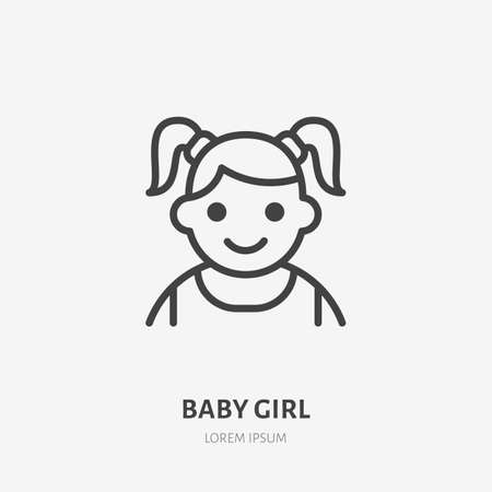 Baby girl flat line icon. Vector outline illustration of little child avatar. Black color thin linear sign for children simple avatar.