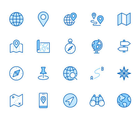 Location line icon set. Compass, travel, globe, map, geography, earth, distance, direction minimal vector illustration. Simple outline sign navigation app ui. Blue color, Editable Stroke.