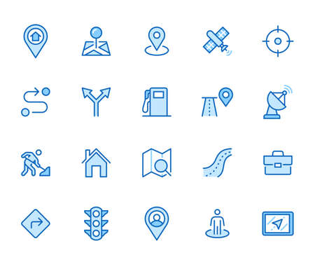 Location line icon set. Gps, proximity, road map, gas station, work destination, place marker minimal vector illustration. Simple outline sign navigation app ui. Blue color, Editable Stroke.