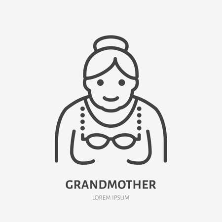 Grandmother flat line icon. Vector outline illustration of old woman . Black color thin linear sign for senior person avatar.