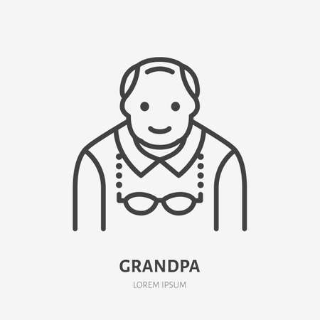 Grandfather flat line icon. Vector outline illustration of old man . Black color thin linear sign for senior person avatar.