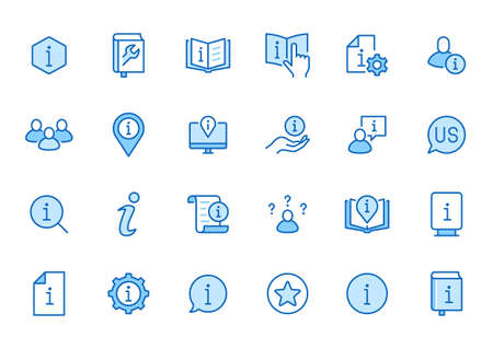 Information line icon set. Privacy policy, manual, rule, instruction, inform, guide, reference minimal vector illustration. Simple outline sign tutorial app ui. Blue color, Editable Stroke. 矢量图像