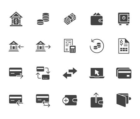 Finance flat icon set. Money transfer, bank account, credit card payment cash back black minimal silhouette vector illustration. Simple glyph sign for online banking application.