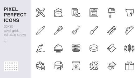 Bakery line icon set. Baking tool - confectionery bag, dough roll, cake decorating, pastry ingredient minimal vector illustration. Simple outline sign of cooking. 30x30 Pixel Perfect, Editable Stroke.