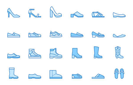 Shoe line icon set. High heels sandal, cowboy boots, hiking footwear, sneakers, slipper minimal vector illustrations. Simple outline signs for fashion application. Blue color, Editable Stroke.