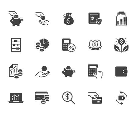 Money income flat icon set. Pension fund, profit growth, piggy bank, finance capital minimal black silhouette vector illustration. Simple glyph signs for investment application.