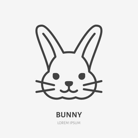 Bunny line icon. Vector outline illustration of easter rabbit. Black color thin linear sign for little happy holiday hare. 矢量图像