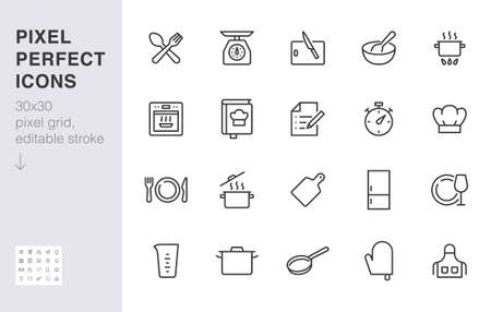 Cooking line icon set. Kitchen tools - pan, pot, dinner utensil, cookbook, chef hat minimal vector illustration. Simple outline sign of food recipe instruction. 30x30 Pixel Perfect, Editable Stroke.