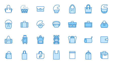 Bags line icon set. Purse types - tote, briefcase, fanny pack, shopper, luggage, plastic bag minimal vector illustrations. Simple outline signs for fashion app. Blue color, Editable Stroke. 矢量图像