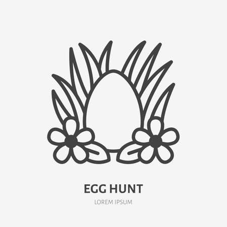Easter egg flat line icon. Vector outline illustration of traditional holiday hunt. Black color thin linear sign for eggshell in the grass. 矢量图像