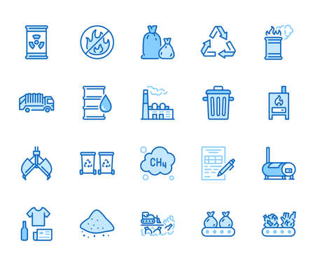 Waste recycling flat line icons set. Garbage bag, truck, incinerator factory, container, bin, rubbish dump vector illustration. Outline signs of trash management. Blue color, Editable Stroke.