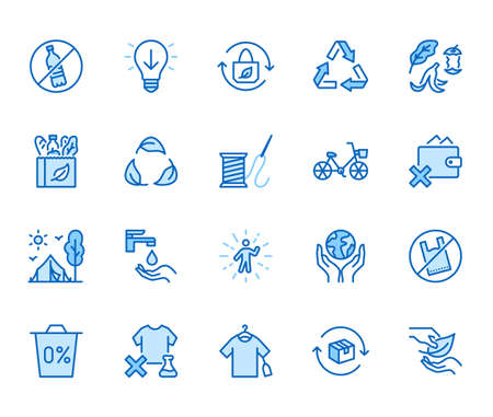 Zero waste lifestyle flat line icons set. Refuse, reduce, reuse, recycle, leaves circle, save water, planet, eco tourism vector illustration. Outline signs of ecology. Blue color, Editable Stroke. 矢量图像