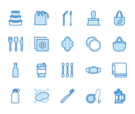 Zero waste products flat line icons set. Reusable bottle, wooden cutlery, metal straw, period pad, face mask vector illustration. Outline signs of sustainable lifestyle. Blue color, Editable Stroke. 矢量图像