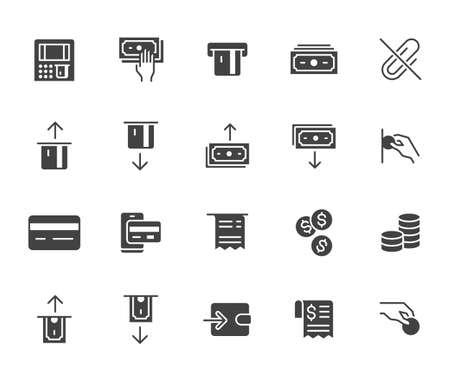 Atm machine flat icon set. Withdraw money, deposit, hand taking cash, receipt black minimal silhouette vector illustration. Simple glyph signs for payment terminal application. 矢量图像