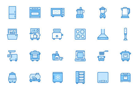 Kitchen appliance line icon set. Oven, mixer, dishwasher, food processor, steamer minimal vector illustrations. Simple outline signs of cooking equipment. Blue color, Editable Stroke.