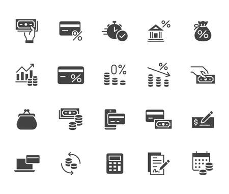 Money loan flat icon set. Credit score, low interest, discount card, mortgage percent, tax black minimal silhouette vector illustration. Simple glyph signs for bank application. 矢量图像