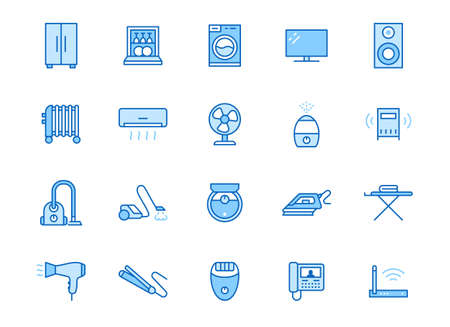 Household appliance line icon set. Washing machine, humidifier robot vacuum cleaner, curling iron minimal vector illustration. Simple outline signs for electronics. Blue color, Editable Stroke.