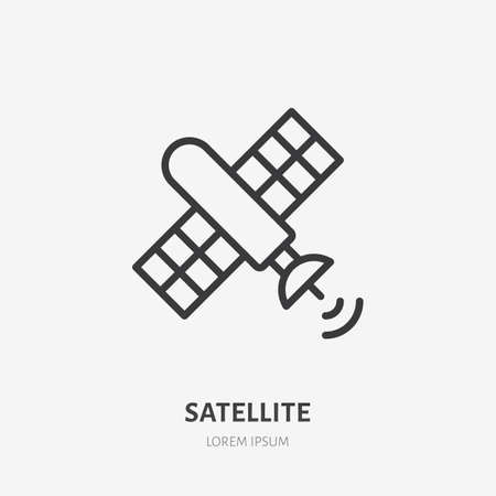 Satellite flat line icon. Vector outline illustration of telecommunication equipment. Black color thin linear sign for space orbital technology. 矢量图像