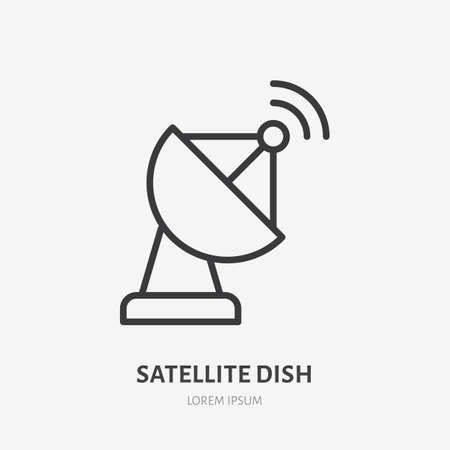 Satellite dish flat line icon. Vector outline illustration of communication equipment. Black color thin linear sign for telecommunication wireless transmitter.