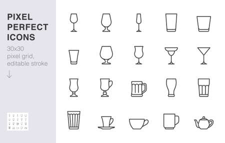 Glass line icon set. Drink glassware type - beer mug, whiskey shot, wineglass, teapot minimal vector illustration. Simple outline sign of cocktail, beverage. 30x30 Pixel Perfect, Editable Stroke. Ilustrace