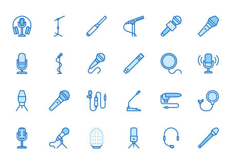 Mic flat line icons set. Podcast mike, journalist microphone, karaoke, conference, windscreen, retro radio vector illustration. Outline pictogram for music store. Blue color, Editable Stroke. 矢量图像