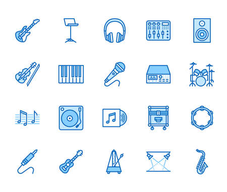 Musical instruments flat line icons set. Dj equipment, sound recording studio, piano, guitar, saxophone vector illustration. Outline pictogram for music store. Blue color, Editable Stroke.