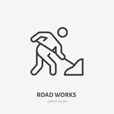 Road works flat line icon. Vector outline illustration of man with the shovel. Black color thin linear sign for warning pictogram.