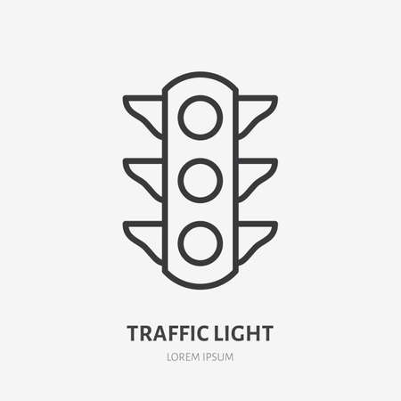 Traffic light flat line icon. Vector outline illustration of simple traficlight. Black color thin linear sign for stoplight traficlamp.