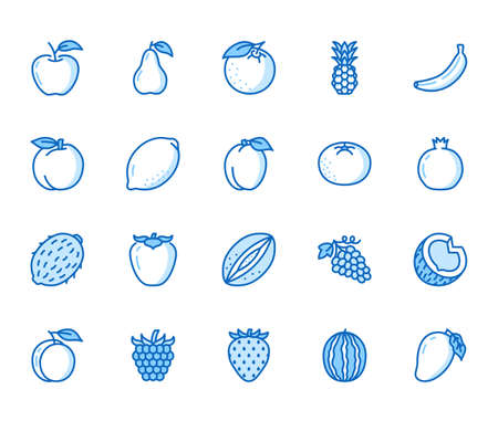 Fruits, berry flat line icons set. Orange, strawberry, pineapple, mango, lemon, kiwi apple, grape vector illustrations. Outline signs for organic food store. Blue color, Editable Stroke