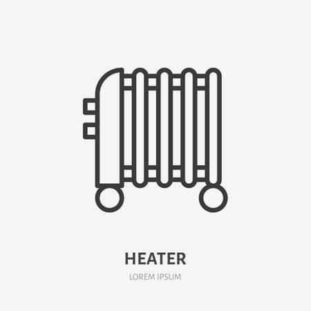 Oil heater flat line icon. Vector outline illustration of domestic heater. Black color thin linear sign for interior portable thermostat.