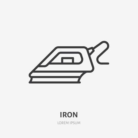 Iron flat line icon.  Black color thin linear sign for object for ironing.