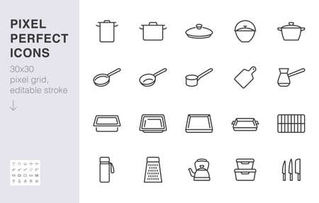 Cookware line icon set. Kitchen equipment - cooker pan pot, frying griddle, lid, knife grater minimal vector illustration. Simple outline sign of cooking utensils. 30x30 Pixel Perfect Editable Stroke