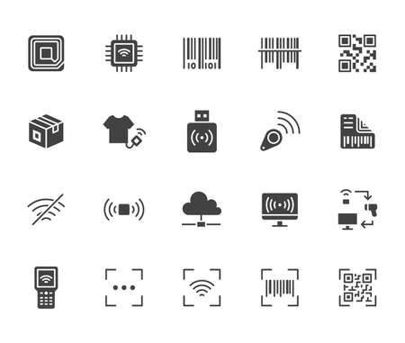 RFID, qr code, barcode flat icon set. Price tag scanner, label reader, identification microchip black silhouette vector illustration. Simple glyph signs retail safety application.
