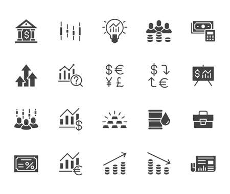Investment flat icon set. Stock market, bond, financial analysis, broker, income increase black minimal silhouette vector illustration. Simple glyph signs for investor application. 矢量图像
