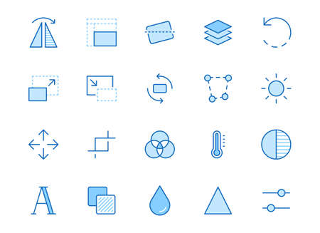 Photo edit line icon set. Flip, crop image, color filter, adjust effects, contrast minimal vector illustration. Simple outline signs for photography application. Blue color, Editable Stroke. 矢量图像