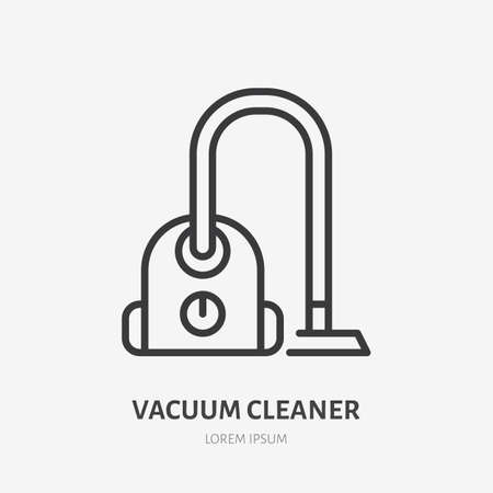 Vacuum cleaner flat line icon. Vector outline illustration of housekeeping equipment.