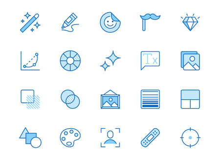 Photo edit line icon set. Image filter, add sticker, adjust curves, glow, heal minimal vector illustration. Simple outline signs for photography application ui. Blue color, Editable Stroke.