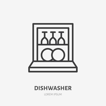 Dishwasher flat line icon. Vector outline illustration of housekeeping equipment. Black color thin linear sign for dish clean machine. 矢量图像