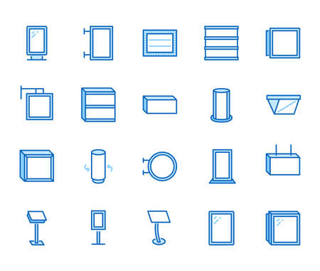 Light box flat line icons. Hanging signboard, retro lightbox, outdoor banner, shop advertising vector illustrations. Thin signs of street ads. Blue color, Editable Stroke. 矢量图像