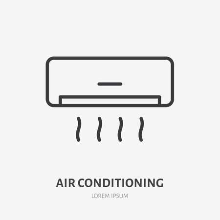 Air conditioner flat line icon. Vector outline illustration of housekeeping ventilation equipment. Black color thin linear sign for house climate.