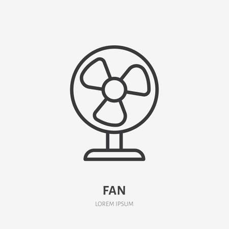 Fan conditioner flat line icon. Vector outline illustration of vintage propeller. Black color thin linear sign for small table ventilator. 矢量图像