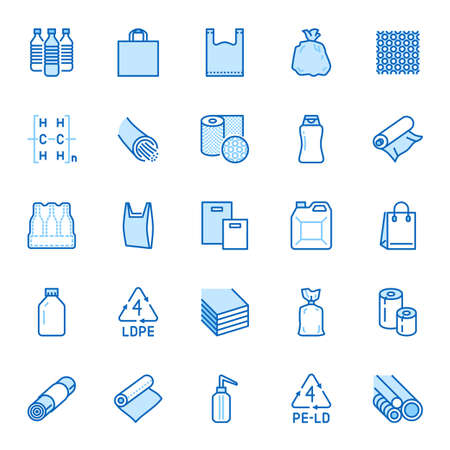 Low density polyethylene flat line icons. Stock Illustratie
