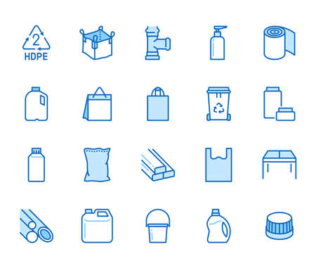High density polyethylene flat line icons. HDPE products - jerry can, plastic canister, pipes, milk jug, garbage container vector illustrations. Thin signs of packaging. Blue color, Editable Stroke. Stock Illustratie