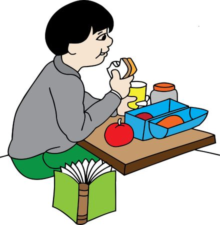 boy eating lunch Vector