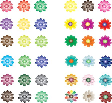 colorful flower collection Stock Vector - 6847172