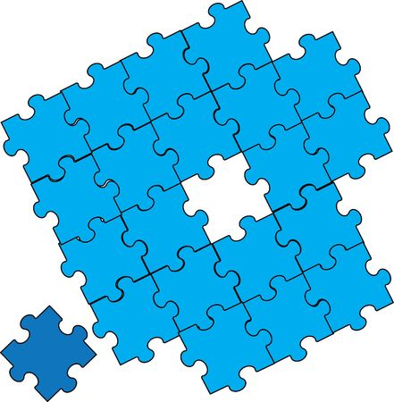 puzzle piece assembly blue Stock Vector - 6847181
