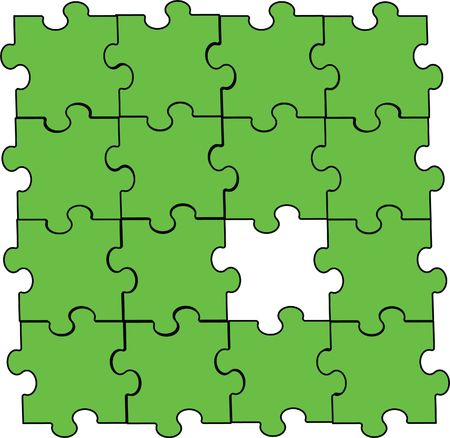 puzzle piece assembly green Illustration