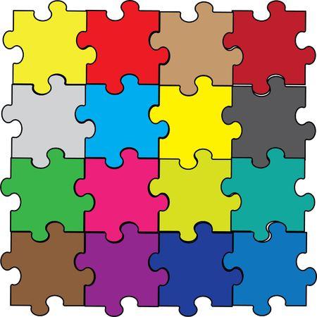 arco iris de ensamblado de pieza de puzzle  Ilustración de vector
