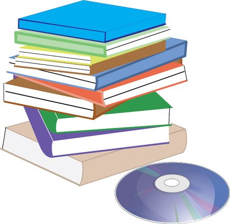 cd placed near a collection of books Vector